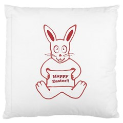 Cute Bunny Happy Easter Drawing i Large Flano Cushion Case (Two Sides)