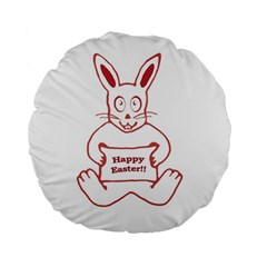 Cute Bunny Happy Easter Drawing i 15  Premium Flano Round Cushion