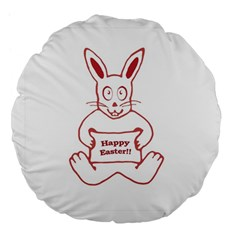 Cute Bunny Happy Easter Drawing i 18  Premium Flano Round Cushion
