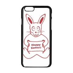 Cute Bunny Happy Easter Drawing I Apple Iphone 6 Black Enamel Case