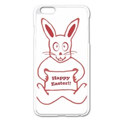 Cute Bunny Happy Easter Drawing i Apple iPhone 6 Plus Enamel White Case
