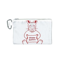 Cute Bunny Happy Easter Drawing i Canvas Cosmetic Bag (Small)