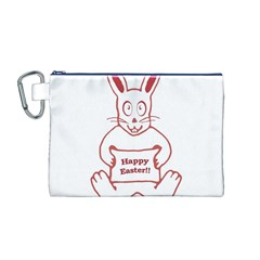 Cute Bunny Happy Easter Drawing i Canvas Cosmetic Bag (Medium)