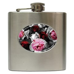 Black And White Roses Hip Flask