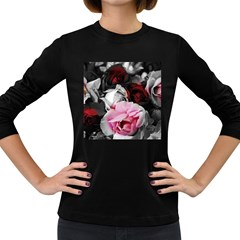 Black And White Roses Women s Long Sleeve T Shirt (dark Colored)