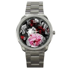 Black And White Roses Sport Metal Watch