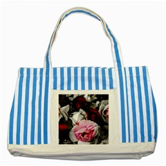 Black And White Roses Blue Striped Tote Bag