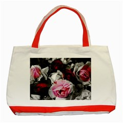 Black And White Roses Classic Tote Bag (red)