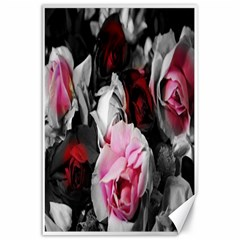 Black and White Roses Canvas 24  x 36  (Unframed)
