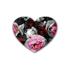 Black And White Roses Drink Coasters 4 Pack (heart)