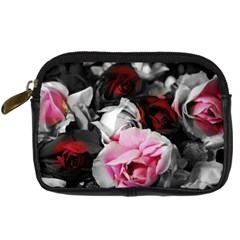 Black And White Roses Digital Camera Leather Case