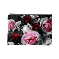 Black And White Roses Cosmetic Bag (large)