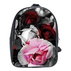 Black And White Roses School Bag (large)