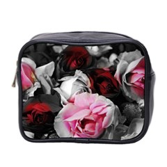 Black And White Roses Mini Travel Toiletry Bag (two Sides)