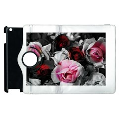 Black And White Roses Apple Ipad 2 Flip 360 Case