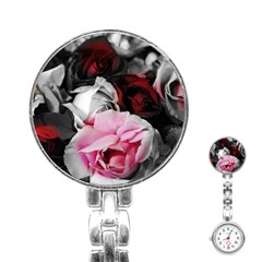Black And White Roses Stainless Steel Nurses Watch