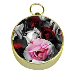 Black And White Roses Gold Compass
