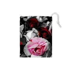 Black and White Roses Drawstring Pouch (Small)