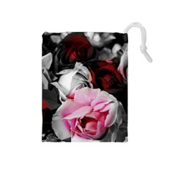 Black and White Roses Drawstring Pouch (Medium)