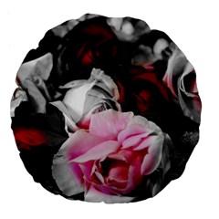 Black and White Roses 18  Premium Flano Round Cushion
