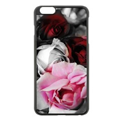 Black And White Roses Apple Iphone 6 Plus Black Enamel Case
