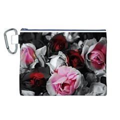 Black and White Roses Canvas Cosmetic Bag (Large)
