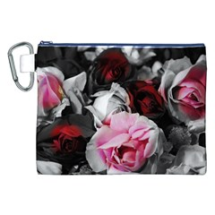 Black and White Roses Canvas Cosmetic Bag (XXL)