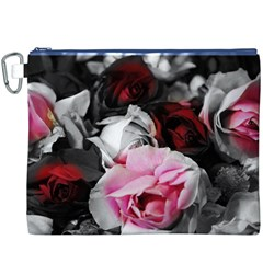 Black and White Roses Canvas Cosmetic Bag (XXXL)