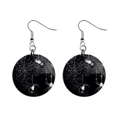 Black And White Spider Webs Mini Button Earrings