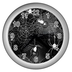 Black And White Spider Webs Wall Clock (silver)