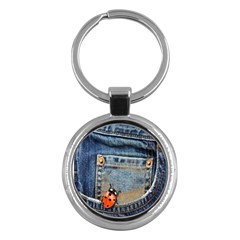 Blue Jean Lady Bug Key Chain (round)