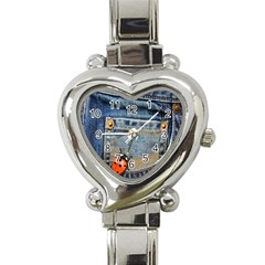 Blue Jean Lady Bug Heart Italian Charm Watch