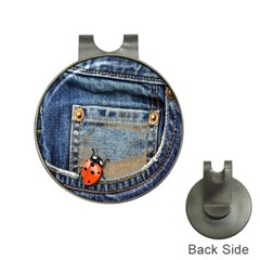 Blue Jean Lady Bug Hat Clip With Golf Ball Marker
