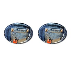 Blue Jean Lady Bug Cufflinks (oval)