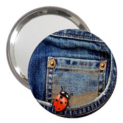 Blue Jean Lady Bug 3  Handbag Mirror