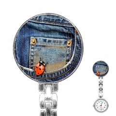 Blue Jean Lady Bug Stainless Steel Nurses Watch