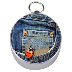 Blue Jean Lady Bug Silver Compass