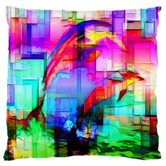 Tim Henderson Dolphins Large Flano Cushion Case (two Sides)