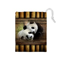 Panda Love Drawstring Pouch (medium)