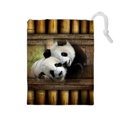 Panda Love Drawstring Pouch (Large)