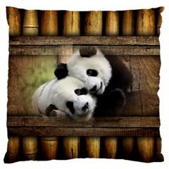 Panda Love Standard Flano Cushion Case (one Side)