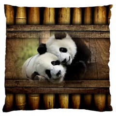 Panda Love Large Flano Cushion Case (two Sides)