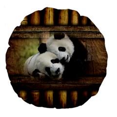 Panda Love 18  Premium Flano Round Cushion