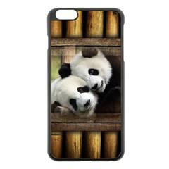 Panda Love Apple iPhone 6 Plus Black Enamel Case