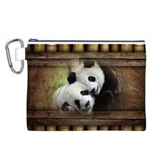 Panda Love Canvas Cosmetic Bag (Large)