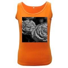 Black And White Tea Roses Women s Tank Top (dark Colored)
