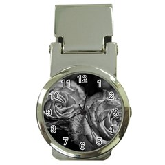Black And White Tea Roses Money Clip With Watch