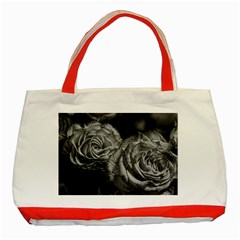 Black And White Tea Roses Classic Tote Bag (red)