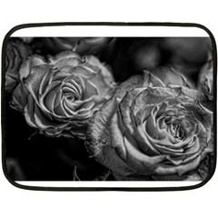 Black and White Tea Roses Mini Fleece Blanket (Two Sided)
