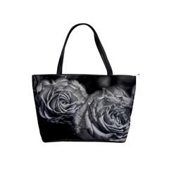 Black And White Tea Roses Large Shoulder Bag